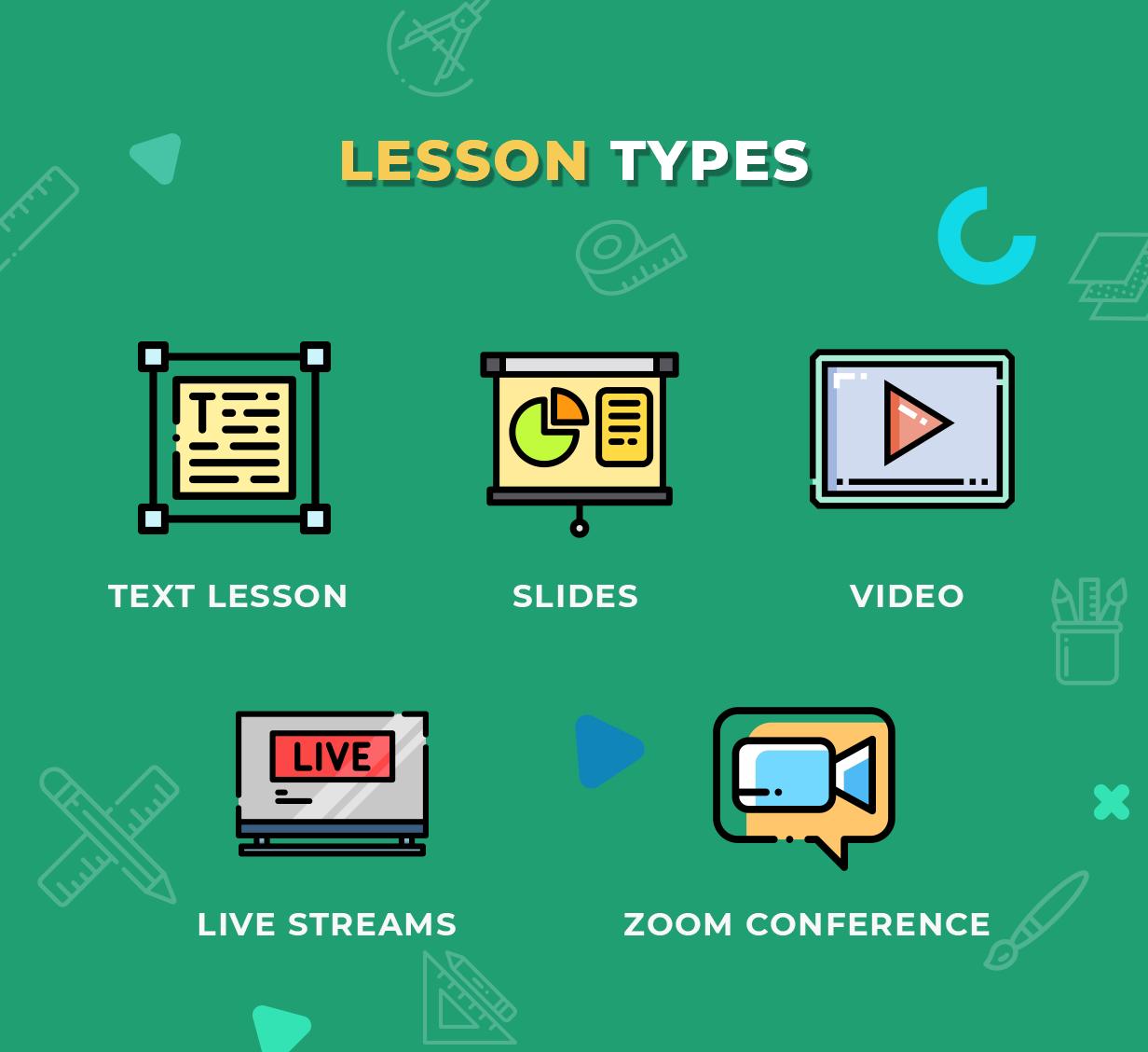 Education WordPress Theme - Lesson Types