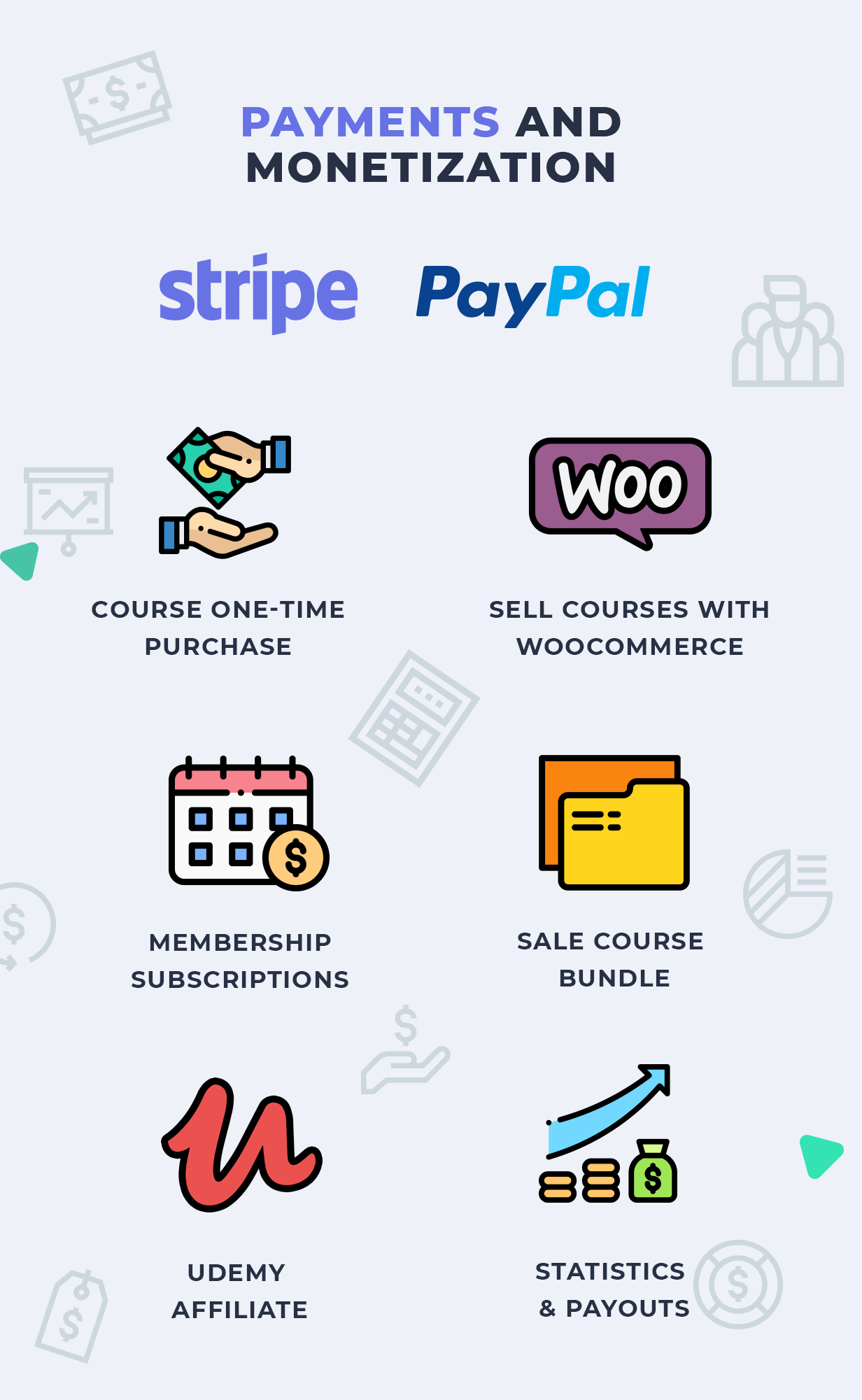 Education WordPress Theme Payments and Monetization options