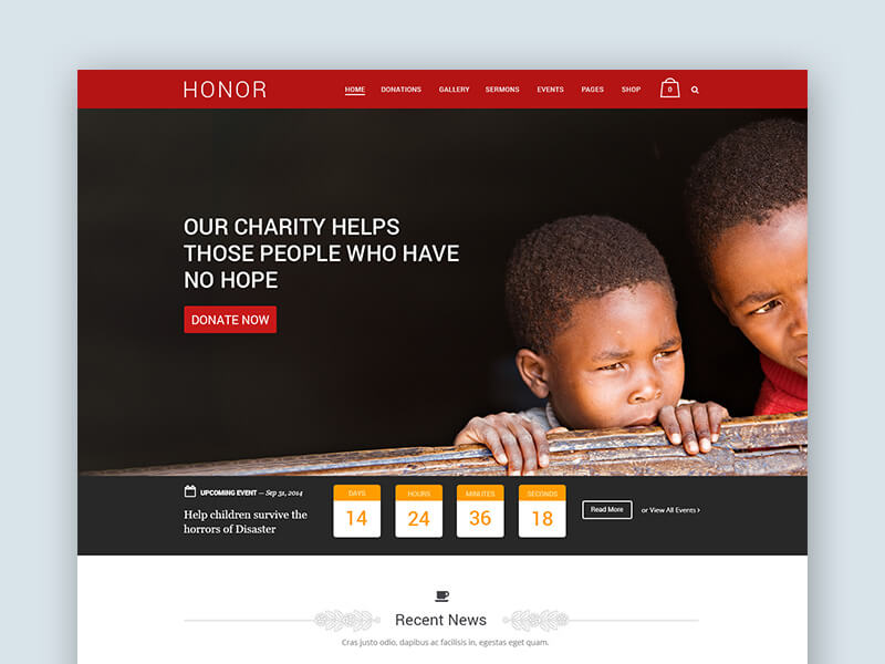 Free PSD Temlate for Charity, Non-Profit and Crowd-funding