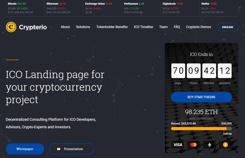 ICO Landing Page Design at Crypterio