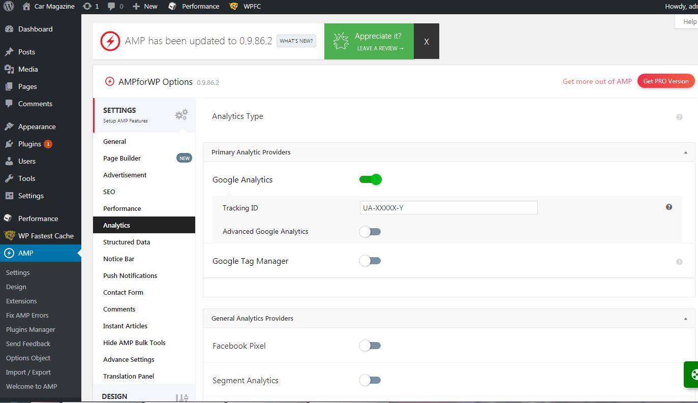 AMP for WordPress Analytics