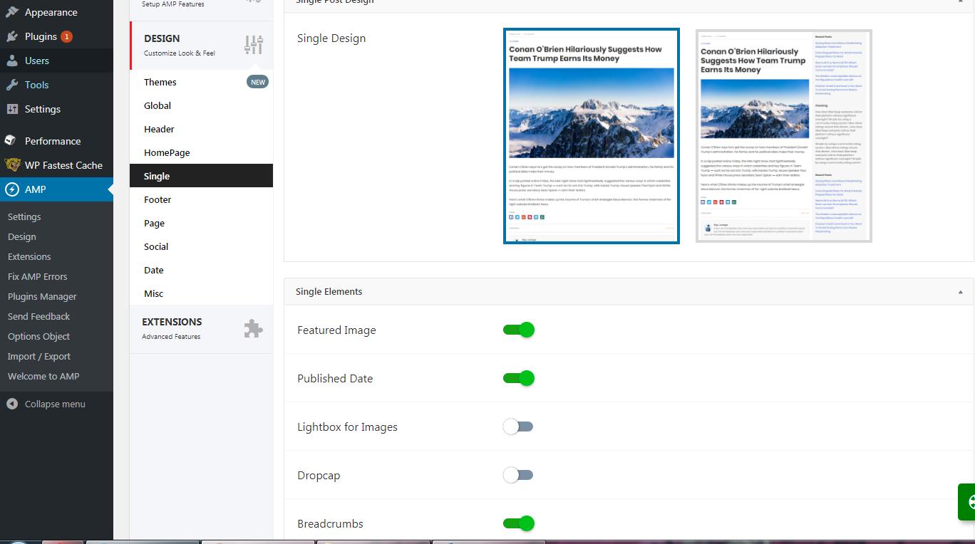 AMP for WordPress Single Post Design