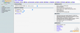 The phpMyAdmin screen