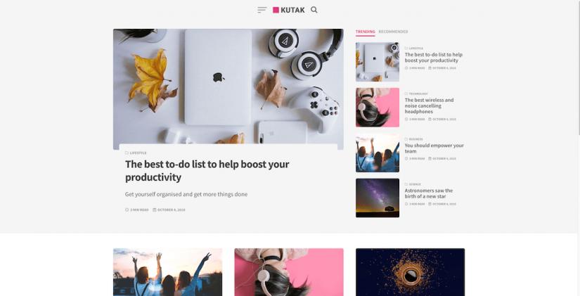 Kutak – Creative Blog Minimal Magazine WordPress Theme