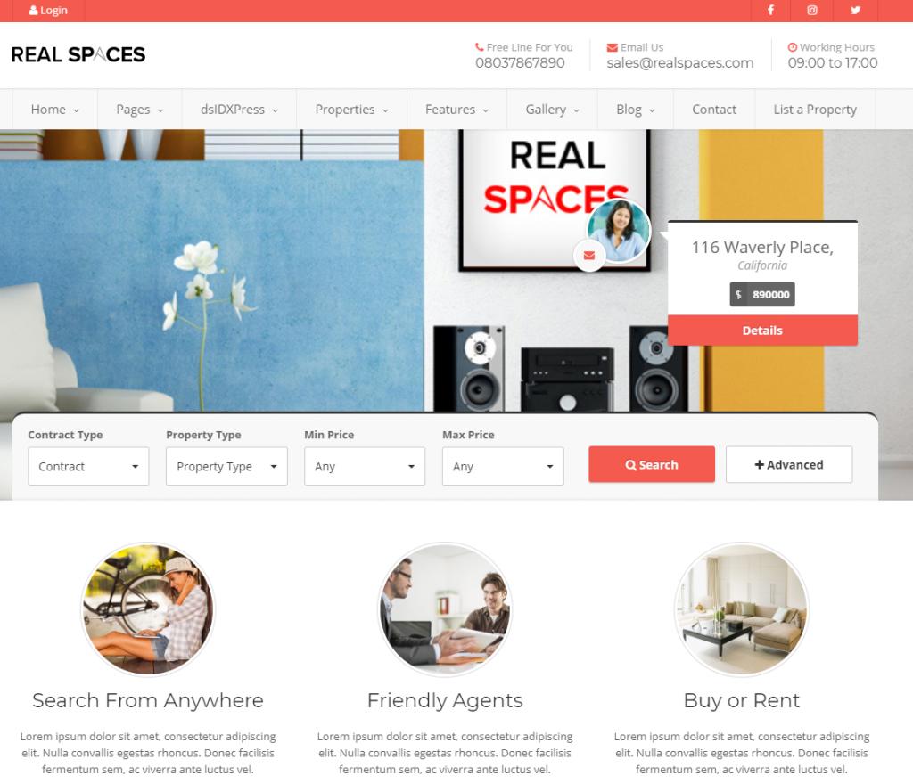 real estate listing wordpress theme